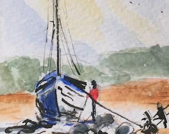 Seascape ORIGINAL Miniature Watercolour, Sailing, Boat, Yacht, ACEO, For him, For her, Home Decor, Wall Art, Gift Idea, Free Shipping