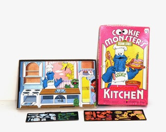 Vintage 80s Colorforms Sesame Street Cookie Monster kitchen near complete with box