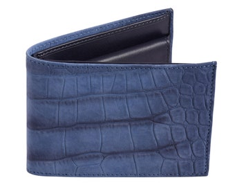 Calfleather wallet Blue with crocodile print