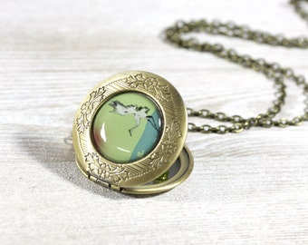 Teal Necklace - Jewelry - Locket Pendant - Crane Locket - Bird Locket - Women Locket - Vintage Lockets - Art jewelry by Cut the Fish (11-3L)