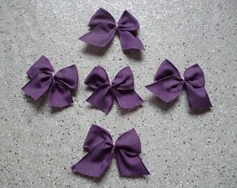 5 applique bows in purple color cotton
