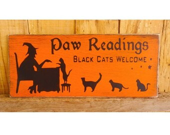 "Paw Reading Sign, 5"" x 12""  Hand Painted Wood Sign, Cat Halloween Sign, Fall Decoration, Autumn, Cats, Witch, Halloween Party, Black Cats"