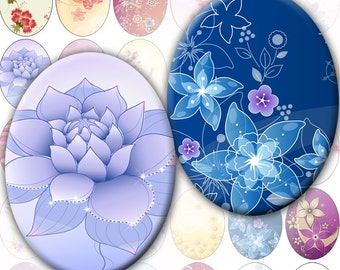 Colorful Flowers and swirls digital collage sheet Ovals 30mm x 40mm (251) Buy 3 - get 1 bonus
