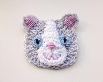 Cat applique 4 crochet applique sew on applique cat applique crochet applique crochet cat gray cat sew on applique dt1010fo