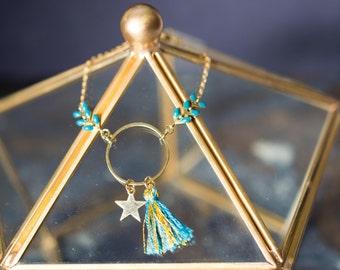 Bracelet HYDRA - émaillée avec anneau, étoile et pompon bleu canard