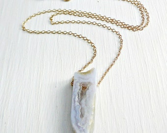 Gemstone Pendant Necklace, Chalcedony slab 18 inch 14kt Gold Filled Chain Geometric Jewelry