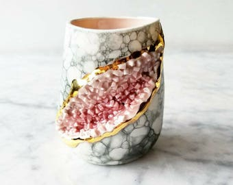 Sculpted Crystal Geode Wine Glass