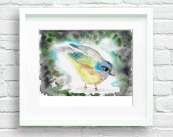 The rest of the tit art watercolor paper, Blue Bird, original painting, card