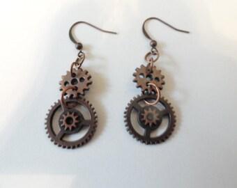 Steampunk  Earrings Antiqued Copper Gears