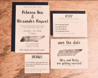Wedding Invitation Full Suite / Custom / State / Destination / Heart / United States / Rustic / Modern / Clean
