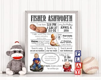 Baby Infographic, First Year Infographic, Birthday Infographic, Baby Milestone Sign, Milestone Birthday Poster, Baby Pictograph, Printable