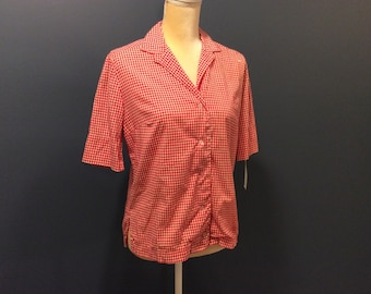 1950's Red and White Checked Pin-up Blouse for Jeans