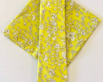 SHIPS IMMEDIATELY, bright yellow tie and pocket square set, floral, liberty of london, fall, tie, necktie, yellow