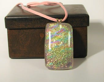 Pink and Gold Fused Glass Dichroic Pendant