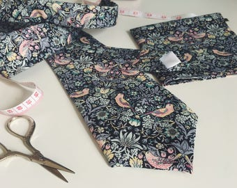 """Liberty of London Handmade Necktie. William Morris Strawberry Thief """"L"""" Pastel and Grey Print Wedding Tie and Pocket Square"""