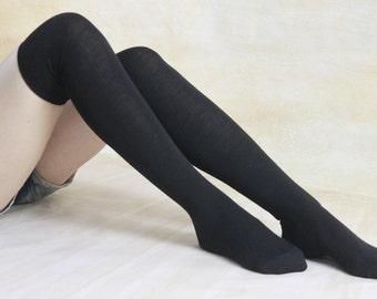 Black Cotton Thigh High Socks Leg Warmers Over Knee Sock For Women Boot Socks Knitted Knee Socks Womens Socks Gifts zjb1143