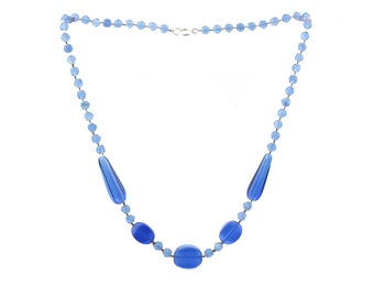 Vintage Czech necklace sapphire blue English cut teardrop oval glass beads