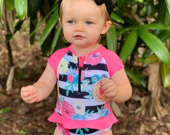 Girls One Piece Swimsuit - Floral Swimsuit - Rash Guard Swimsuit - Pink Swimsuit - Birthday Swimsuit - Black Swimsuit - Bathing Suit
