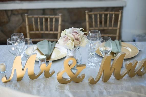 Gold Metallic Mr And Mrs Sign Wedding Sweetheart Table Decor