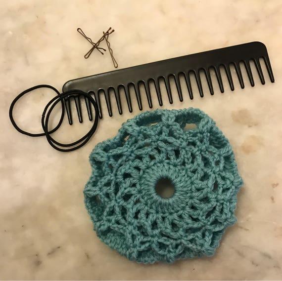 Hand crochet hair net bun net bun cover merino wool