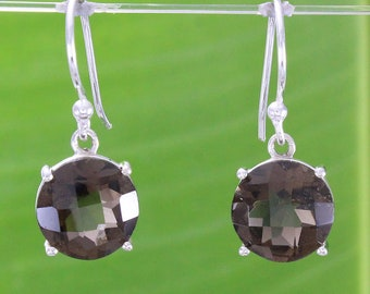 Natural Gemstone Smoky Quartz  925 Solid Sterling Silver Handmade Round Earring