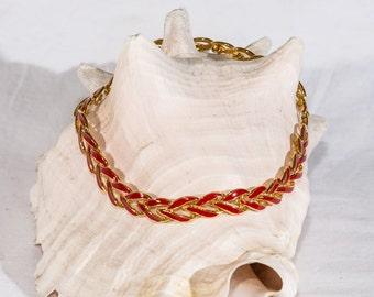 Vintage Napier necklace red enamel gold tone mid century links signed