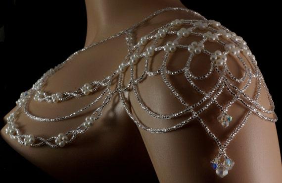 Pearl Czech Crystal Beaded Bridal Shoulder Necklace Vintage