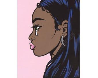 African American Crying Comic Girl Print