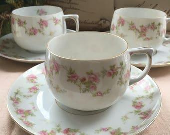 Set of 3 M Z Austria Bridal Wreath Teacup and Saucer Sets Antique Austrian China