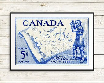 David Thompson, Canadian history, history classroom decor, history teacher gift, vintage Canada poster, canadian stamps, postage stamp art