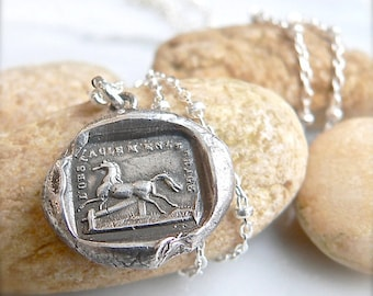 Wax Seal Jewelry RISE to the CHALLENGE, Symbolic Talisman, ENCOURAGING Wax Seal Pendant, Equestrian Gift,  Horse Charm, Horse Lover,