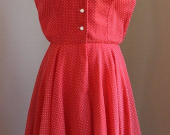 1950s Red Polka Dot Day Dress