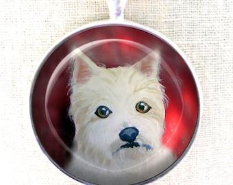 Porte-clé Westie ~ Keychain de chien ~ West Highland Terrier ~ Westie cadeau ~ April Birthday ~ chien peinture ~ Westie Portrait