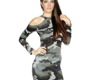 Military dress/ Long sleeve military dress/ military tight dress/ military p/ bare shoulder military dress/ military short dress