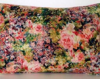 """20"""" x 14"""" Tim Holtz Eclectic Elements Bouquet Floral Lumbar Throw Pillow Cover Flowers Pink Silk French Country English Victorian Roses"""
