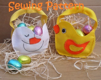 Shabby chicks Easter Basket Egg hunt PDF Sewing Pattern , DIY crafts - Duck and Chick   - table decoration , EGG hunt party