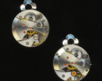 Steampunk Clip on Earrings . 17 Jewel Watch Movement . Industrial Victorian Gothic - Time Goes On by enchantedbeas on Etsy