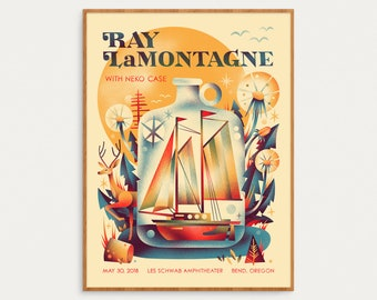 Ray LaMontagne Show Poster - May 30, 2018 - Bend Oregon - Official Gig Poster - 18x24