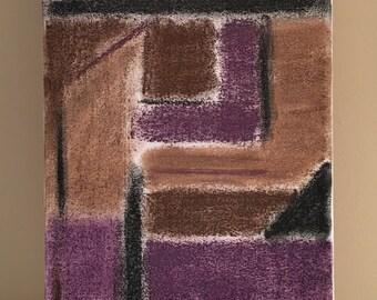 Purple, brown & black pastels, 8x16