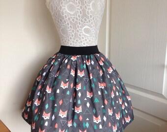 Ladies or girls Geometric Foxes full skater style skirt