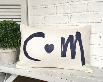 INITIAL COUPLE PILLOW,Personalized Couple Pillow,Initial Throw Pillow,Heart- Initial Pillow