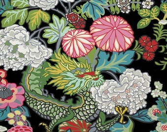 Chiang Mai Dragon Wallpaper in Ebony Schumacher Wallcovering, Chinoiserie Style Chinese Dragon Black Green Pink Flowers