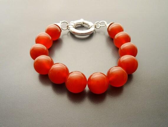 Casual Gemstone Bracelet - Red Agate, Beaded Bracelet - 10mm balls - Sterling Silver Spring Ring Clasp - Red Gemstone Beaded Bracelet.