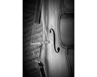 Cello Acoustic Stringed Musical Instrument with Beethoven Sheet Music in either Black & White or Sepia No.BW11 Classical Music Photography