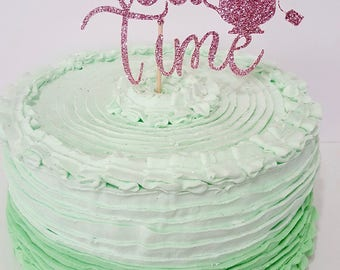 Tea Time glitter Cake Topper READY TO SHIP teacup teabag tea party decor display