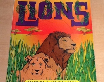 "Vintage 1995 ""The World of Lions"" Coloring & Activity Book by Jack Rubottom and Paradise Press. None of the pages have been colored so it is"