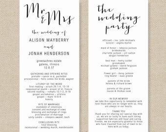 free wedding program templates word - order of service etsy