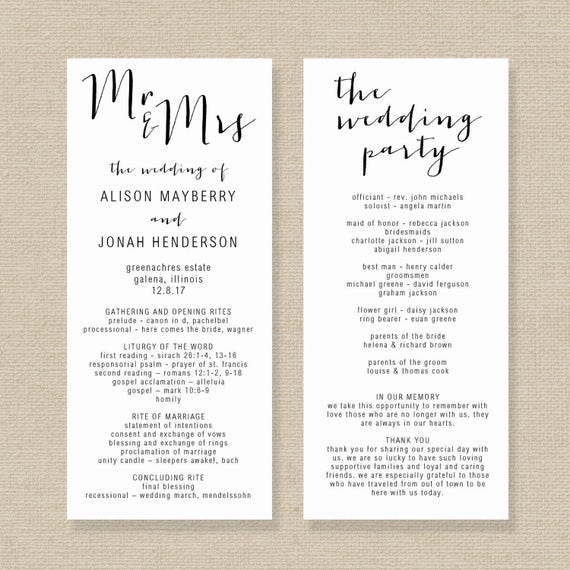 Wedding Program Template Editable Wedding Program Rustic - Editable wedding program templates