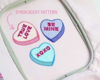 KAWAII CANDY HEARTS Stickdatei Sticken - Liebe Love Valentinstag Digital Design Sofortdownload - Patch Applikation - 10 x 10 Rahmen Sticken