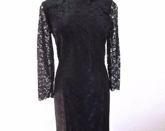 L 50s 60s Black Lace Party Dress Cheongsam Asian Qipao Long Sleeves Frog Closure Side Zipper Satin Lining Sheath Large